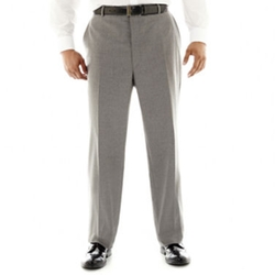 Stafford - Travel Gray Stripe Flat-Front Suit Pants