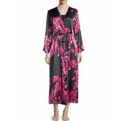 Oscar de la Renta  - Floral-Print Charmeuse Wrap Robe