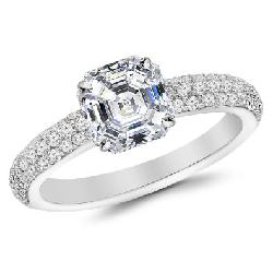 Houston Diamond District - 1.19 Carat 14K Three Row Pave Style Diamond Engagement Ring with a 0.7 Carat Asscher Cut H Color VS2 Clarity Center Stone