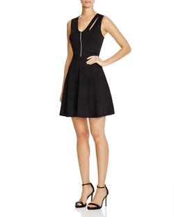 Aqua - Texture Dot Zip Front Dress