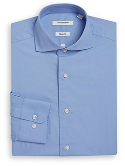 Isaac Mizrahi - Slim-Fit Solid Cotton Dress Shirt