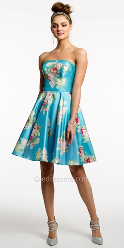 Camille La Vie - Floral Print Short Prom Dress