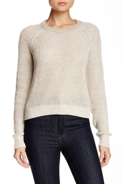 Theory  - Brombly Cropped Linen Blend Sweater
