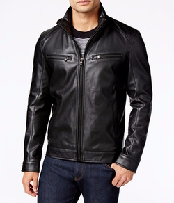 Michael by Michael Kors  - Perforated Faux-Leather Moto Jacket