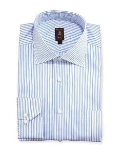 Robert Talbott	  - Framed Satin-Stripe Trim Fit Dress Shirt