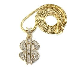 NYfashion101 - Iced Out Dollar $ Sign Pendant with Chain Necklace