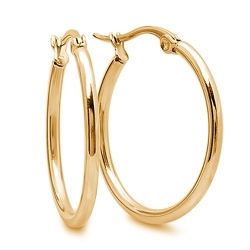 Gem Stone King - Stunning Stainless Steel Yellow Gold Plated Hoop Earrings
