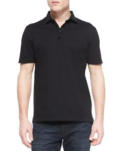 Lanvin   - Grosgrain-Collar Short-Sleeve Polo, Black