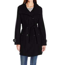 Calvin Klein  - Wool Belted Double Breasted Coat