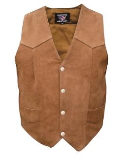 Allstate Leather - Plain Sides Vest Brown