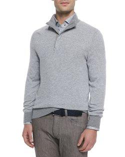 Ermenegildo Zegna   - Cashmere-Blend Quarter-Zip Pullover
