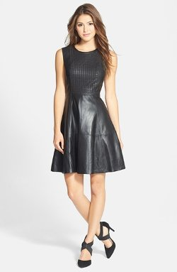 Halogen - Perforated Leather Fit & Flare Dress