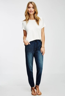 Forever 21 - Contemporary Life In Progress Denim-Detailed Jogger Pants