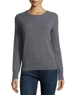 Neiman Marcus Cashmere Collection  - Long-Sleeve Crewneck Cashmere Sweater