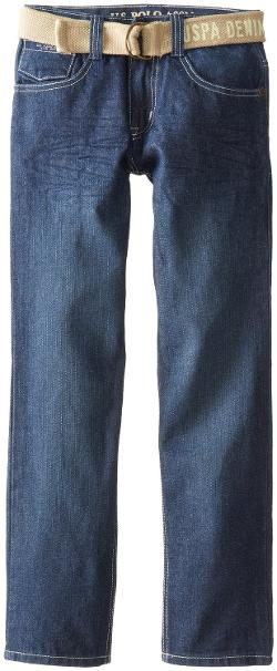 U.S. Polo Assn. - Boys 8-20 Slim Straight Belted Denim Jeans