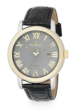 Peugeot - Two-Tone Black Leather Strap Watch