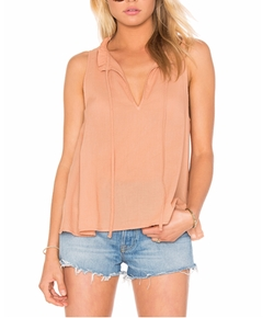 Enza Costa - Peasant Voile Ruffle Neck Henley Tank