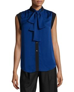 Michael Michael Kors - Tie-Neck Sleeveless Silk Top