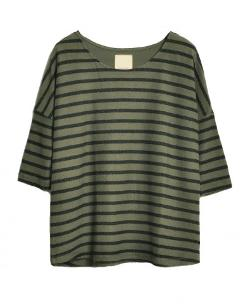 Chicnova - 3/4 Sleeves Striped Round Neckline Sweatshirt