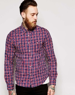 Asos - Nudie Indigo Dobby Check Shirt