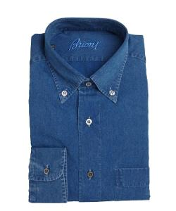 Brioni - Blue Denim Button Down Collar Dress Shirt