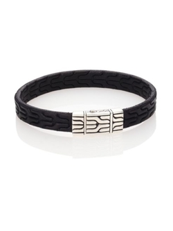 John Hardy  - Classic Chain Leather & Sterling Silver Bracelet