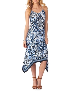 5Twelve  - Floral Handkerchief-Hem Sleeveless Dress