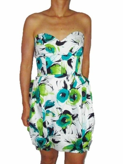 Spicysugar - Sweetheart Strapless Floral Print Tube Dress