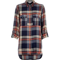 River Island - Navy Check Longline Shirt