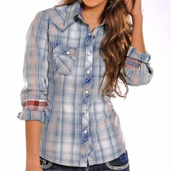 Panhandle Slim - Snow-Washed Plaid Western Shirt