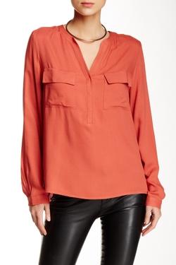 Susina - Split Neck Long Sleeve Woven Blouse
