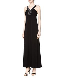 Neiman Marcus  - Beaded Jersey Maxi Dress