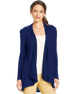 Charter Club  - Ribbed Drape-Front Cardigan