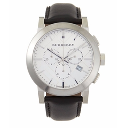 Burberry - Check-Dial Leather-Strap Watch