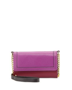 Neiman Marcus - Colorblock Saffiano Crossbody Wallet-on-Chain