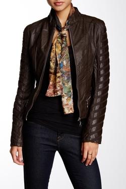 Coalition LA  - Stripe Down Vegan Leather Jacket