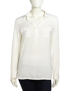Neiman Marcus  - Long-Sleeve Button-Front Semi-Sheer Blouse