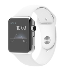 Apple - Stainless Steel Case with White Sport Band Watch