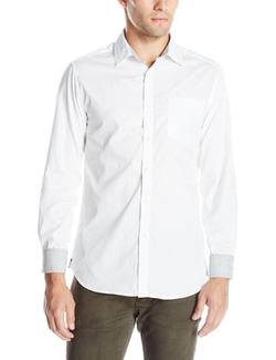 Kenneth Cole  - Long-Sleeve Slim White One-Pocket Shirt