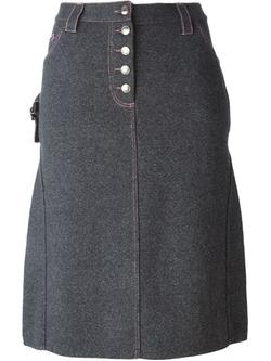 Christian Dior Vintage   - Jersey Denim Effect Pencil Skirt