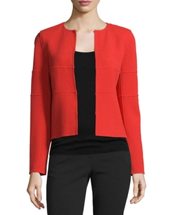 Armani Collezioni - Long-Sleeve Tonal-Striped Jacket