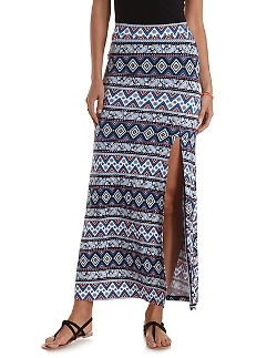 Charlotte Russe - Mixed Print Front Slit Maxi Skirt