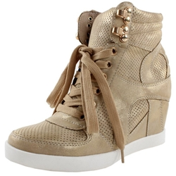 Top Moda - High Top Lace Up Wedge Sneakers