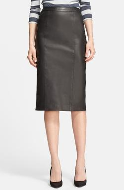 Burberry London - Leather Pencil Skirt