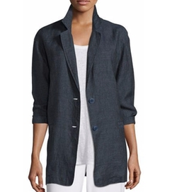 Eileen Fisher - Organic Linen One-Button Long Blazer