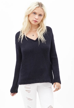 Forever21 - Rolled V-Neck Sweater