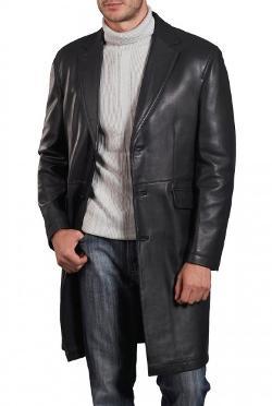 Hexder - Mens Black Long Leather Coat