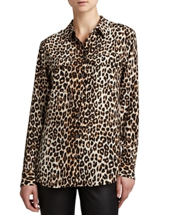 Equipment  - Signature Leopard-Print Slim Blouse
