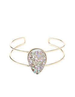 Charlotte Russe - Druzy Stone Stacked Cuff Bracelet
