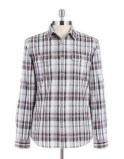 DKNY Jeans - Plaid Roll-Tab Sportshirt